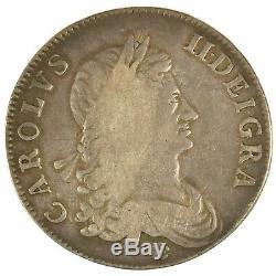 1662 Charles II Crown Rose Below Bust Edge Undated Great Britain Silver Coin