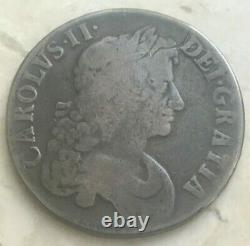 1673 Great Britain 1 One Crown Charles II Staple Scratch HHA
