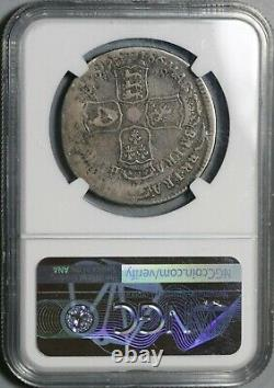 1686 NGC F 15 James II Mint Error 1/2 Crown Great Britain Silver Coin 21032105C