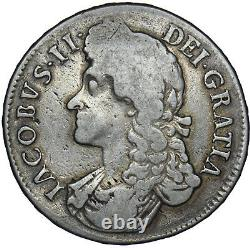 1687 Crown James II British Silver Coin