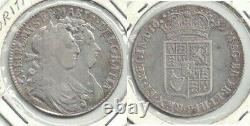 1689 Great Britain William & Mary Silver Half Crown, 1st Reverse - Very Fine