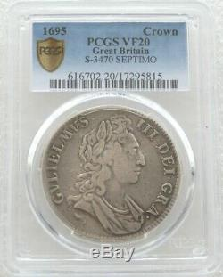 1695 Great Britain King William III Septimo Silver Crown Coin PCGS VF20