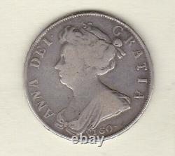 1703 Vigo Anne Silver Half Crown In Near Fine To Good Fine Condition