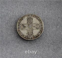 1708 GREAT BRITAIN UK Queen ANNE Antique Silver Half Crown SEPTIMO VF/XF KM #518