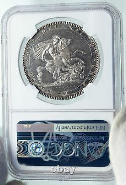 1818 GREAT BRITAIN UK King George III Old ANTIQUE Silver CROWN Coin NGC i87202