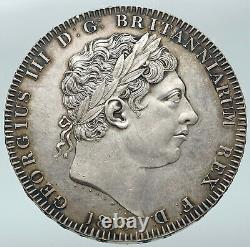 1818 GREAT BRITAIN UK King George III VINTAGE Antique Silver CROWN Coin i87166