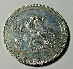 1818 LVIII Great Britain Silver Crown AU/UNC Cleaned