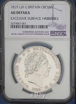 1819 LIX Great Britain Silver Crown KM# 675 S. 3787 NGC AU George III Rare Coin