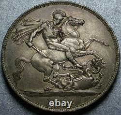 1822 GREAT BRITAIN Sterling Silver ONE CROWN King GEORGE IV + St George & DRAGON