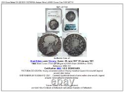 1844 Great Britain UK QUEEN VICTORIA Antique Silver LARGE Crown Coin NGC i81748
