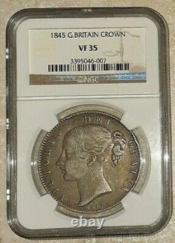 1845 Great Britain Silver Crown NGC VF 35 Queen Victoria 3395046-007 RARE