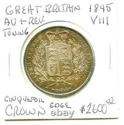 1845-VIII Great Britain Cinquefoilo Edge Crown Very Nice AU+ Coin