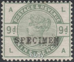 1883 SG195s 9d DULL GREEN WATERMARK CROWN MINT HINGED SPECIMEN TYPE 9 (LA)