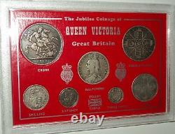 1887-1892 Queen Victoria Jubilee Head Silver Crown Coin Collector Gift Type Set