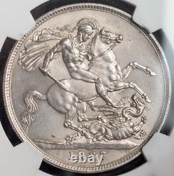 1887, Great Britain, Queen Victoria. Large Silver Jubilee Bust Crown. NGC UNC+
