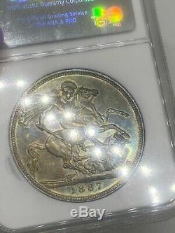 1887 Great Britain Silver Crown Jubilee MS 62 PRETTY RAINBOW TONING