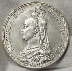 1887 Great Britain Silver Crown Uncirculated Details CLEANED #061687