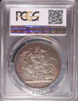 1887 Great Britain Silver One (1) Crown S 3921, PCGS MS 63 Gold Shield Holder