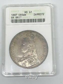 1887 Great Britain Victoria Jubilee Head Silver Crown ANACS MS 61 Coin
