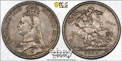 1887 Silver Crown Coin PCGS AU55 Great Britain Victoria S3921 UK