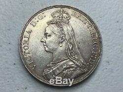 1889 GREAT BRITAIN Queen Victoria Jubilee Head Crown Silver Coin AU