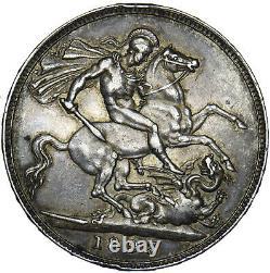 1893 LVI Crown Victoria British Silver Coin Nice