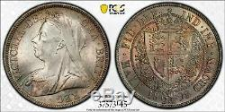 1898 Great Britain 1/2 Half Crown PCGS MS64 Lot#G479 Silver! Nice Toning