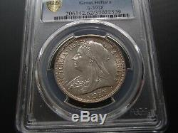 1900 Great Britain Uncirculated Silver Half 1/2 Crown Coin Victoria PCGS MS62