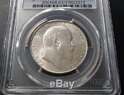 1910 Great Britain Silver Half 1/2 Crown Edward VII PCGS MS63