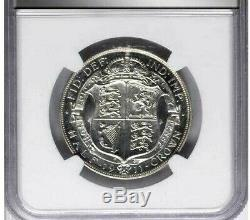 1911 Great Britain 1/2 Crown, NGC PR 63, Brilliant White Proof