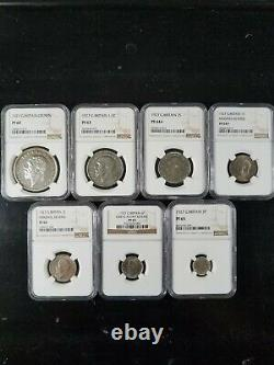 1927 Great Britain silver Proof Set, Crown thru 3 pence, NGC graded PF60 PF65