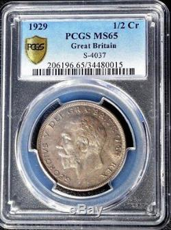 1929 Great Britain 1/2 Crown, PCGS MS 65, Half