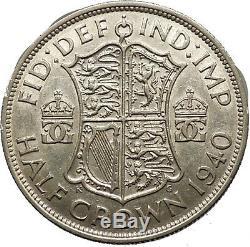 1940 United Kingdom of Great Britain GEORGE VI Half Crown Silver Coin i53786