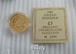 1989 Great Britain 5 Pounds Gold Crown Coin 500th Anniversary of Sovereign