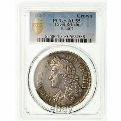 #489372 Coin, Great Britain, James II, Crown, 1687, PCGS, AU55, Silver