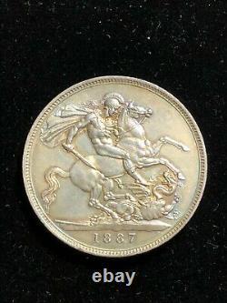 ENGLAND 1887 Silver Crown, Victoria Jubilee, S3921 UNC Grade, Great Britain