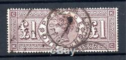 GB QV 1884 £1 brown SG185 WMK Crowns fine used Cat Val £3000 WS18974
