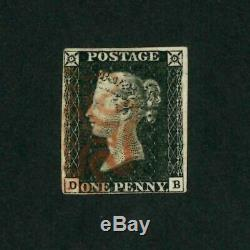 GB QV Penny Black 1840 SG2 Line/Eng Plate 4 Die1 Alpha 1 Sm/Crown Fine 4 Margin