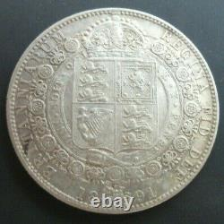 GREAT BRITAIN 1891 VICTORIA 1/2 Crown JUBILEE HEAD SILVER aUNC REF SPINK 3924