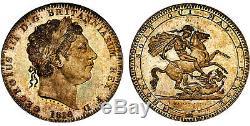 GREAT BRITAIN George III 1818 LVIII AR Crown NGC MS65 Full strike, pastel toning