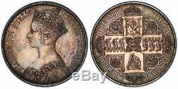 GREAT BRITAIN Victoria 1847 AR Gothic Crown PCGS PR63 UN DECIMO S-3883, ESC-2571
