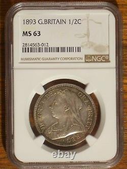 Great Britain 1/2 Crown, 1893 NGC MS 63
