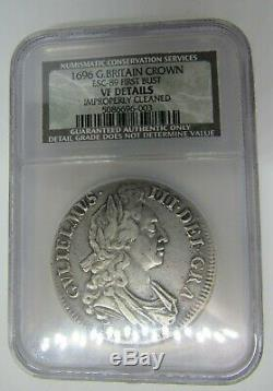 Great Britain 1696 Crown, Certified by NCS (NGC) VF Details, Improperly Cleaned