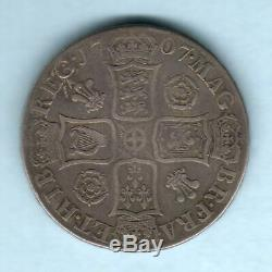 Great Britain. 1707 Queen Anne Crown. Roses & Plumes. Fine+