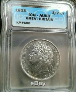 Great Britain 1823 half crown certified AU53