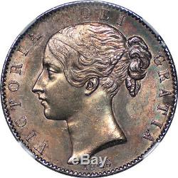 Great Britain 1845 Victoria Silver Crown NGC MS-62 Colorful iridescent tone