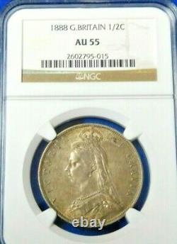 Great Britain 1888 Silver Half Crown Queen Victoria NGC AU55 A Beauty! (597)