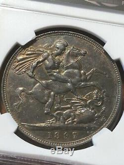 Great Britain 1897 LX Silver Crown Queen Victoria NGC AU-53