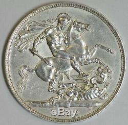 Great Britain 1902 King Edward VII St George Silver Crown Coin EF+