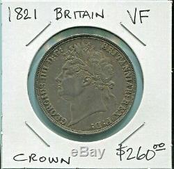 Great Britain Beautiful George IV Silver Crown, 1821, Km# 380.2